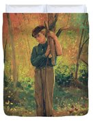 Boy Holding Logs Duvet Cover by Winslow Homer