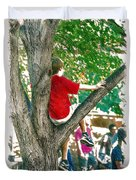 Boy In A Tree Duvet Cover