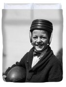 Boy In Old-fashioined Football Gear Duvet Cover