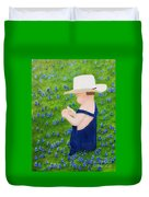 Boy In The Bluebonnets Duvet Cover
