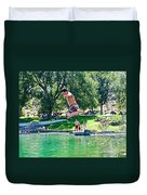 Boy Jumping Off The Board Into Dierkes Lake In Snake River Near Twin Falls-idaho   Duvet Cover
