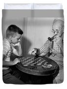 Boy Playing Checkers With Grandfather Duvet Cover
