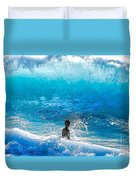 Boy And Wave   Kekaha Beach Duvet Cover