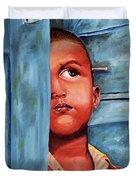 Boy Waiting At Door Duvet Cover