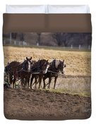 Boy Waiting With Horses Duvet Cover