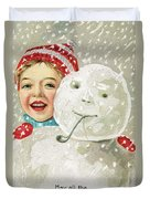 Boy With A Snowman Duvet Cover