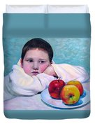 Boy With Apples Duvet Cover