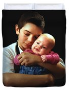 Boy With Bald-headed Baby Duvet Cover
