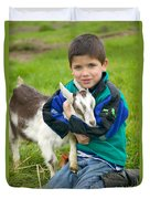 Boy With Goat Duvet Cover