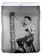 Boy With Huge Stack Of Toast, C.1950s Duvet Cover