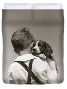 Boy With Puppy, C.1930-40s Duvet Cover