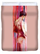 Boy With Vertical Lines Duvet Cover