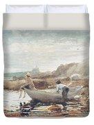 Boys On The Beach Duvet Cover by Winslow Homer