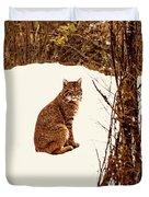 Bobcat In Snow Duvet Cover