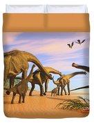 Brachiosaurus Beach Duvet Cover