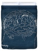 Brain Drawing On Chalkboard Duvet Cover by Setsiri Silapasuwanchai