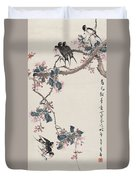 Branch Magpie Painting Duvet Cover