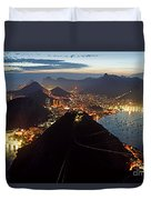 Brasil,rio De Janeiro,pao De Acucar,viewpoint,panoramic View,copacabana At Night Duvet Cover by Juergen Held