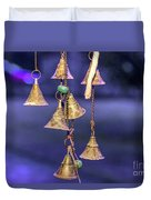 Brass Bells Hanging In The Illuminated Courtyard At Winter Night Duvet Cover