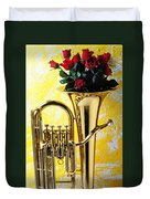 Brass Tuba With Red Roses Duvet Cover