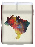 Brazil Watercolor Map Duvet Cover