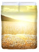 Bread And Wheat Cereal Crops At Sunset Duvet Cover