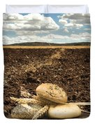 Bread And Wheat Ears. Plowed Land Duvet Cover by Deyan Georgiev