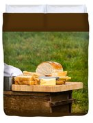 Bread With Butter On Cutting Board Duvet Cover