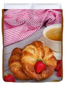 Breakfast With Croissants Duvet Cover
