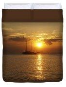 Breathtaking Sailboat Ocean Sunset #0182 Duvet Cover