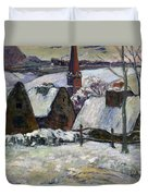 Breton Village Under Snow Duvet Cover by Paul Gauguin