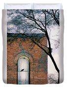 Brick Building Window With Bird Duvet Cover
