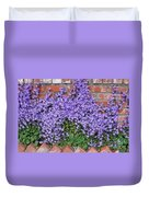 Brick Wall With Blue Flowers Duvet Cover