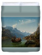 Bridal Procession On The Hardangerfjord Duvet Cover