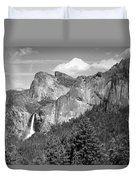 Bridalveil Falls From Tunnel View B And W Duvet Cover