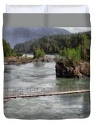 Bridge Across Mountain River Duvet Cover
