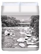 Bridge And Mountain Stream In Black And White Duvet Cover