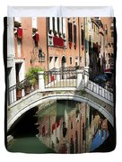 Bridge And Reflection Venice, Italy Duvet Cover
