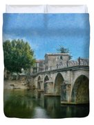 Bridge At Quissac - P4a16005 Duvet Cover