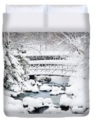 Bridge In Winter Snow Duvet Cover