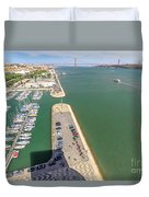 Bridge Of 25 April Panorama Duvet Cover