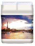 Bridge Of Alexandre IIi And Eiffel At Violet Sunset Duvet Cover