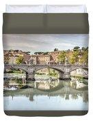 Bridge Over The River Tevere, Rome, Italy Duvet Cover