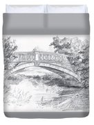 Bridge Over The River White Cart Duvet Cover by Brandy Woods