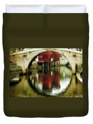 Bridge Over The Tong - Qibao Water Village China Duvet Cover