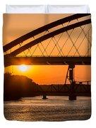 Bridge Sunrise And Boater Duvet Cover