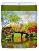Bridge With Red Bushes In Spring Duvet Cover