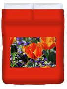 Bright And Colorful Orange And Red Tulip Flowering In A Garden Duvet Cover