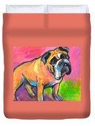Bright Bulldog Portrait Painting  Duvet Cover
