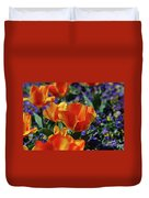 Bright Colored Garden With Striped Tulips In Bloom Duvet Cover